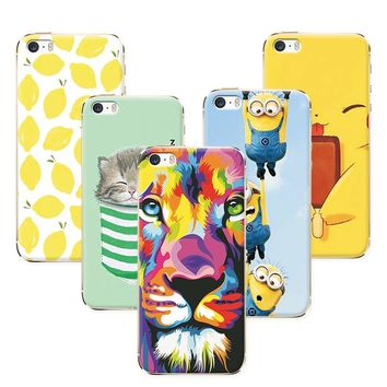 Fruit Painting Cat lion Minions Phone Cases For Coque  iPhone 5 5S SE Case Cover Soft Silicone funda  iPhone 5S SE 4.0 inch+Gift