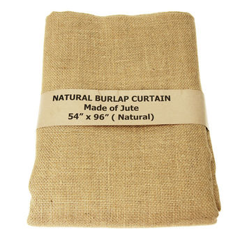Natural Burlap Window Curtain, 96-inch