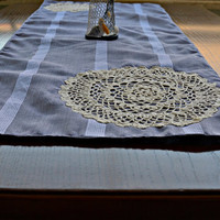 Lilac Cotton Table Runner with Lace