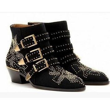Round Toe Rivet Flower Boots Genuine Leather Ankle Boots