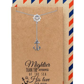 Joyce Nautical Anchor Necklace for Women, Christian Jewelry, comes with Inspirational Quote