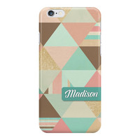 Triangles Geometric iPhone or Samsung Galaxy Case, Peach Phone Case, Geometric Phone Case, Mint iPhone, Peach and Mint Colors