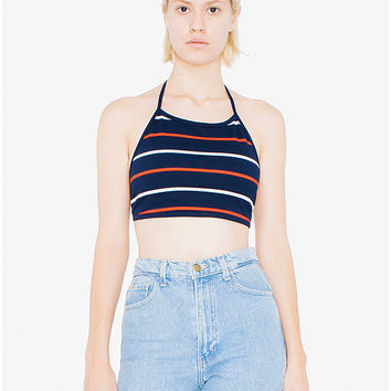 Striped Ponte Halter | American Apparel Factory Store