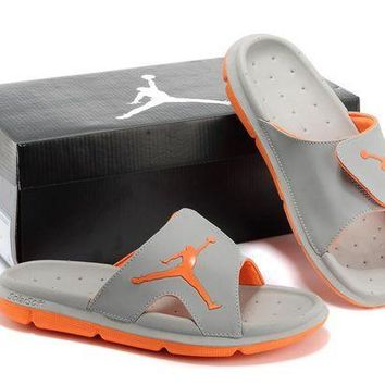 Nike Air Jordan Gray/Orange Casual Sandals Slipper Shoes Size US 7-13