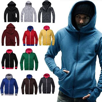 New Fashion Men Hoodies Thick Sweatshirt Hoodie Casual Zipper Up Hooded Jackets Coat Tops  -MX8