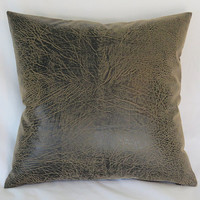 """Brown Faux Leather Pillow Cover, 17"""" Square, Vegan Hide, Rustic Distressed Look, Ready Ship"""