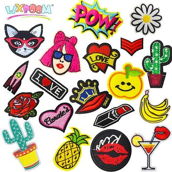WXBOOM 10Pcs Mixed Iron-on Embroidery Patches for Clothing Fabric Patch Badge Stickers for Shirt Jacket Clothes Decoration