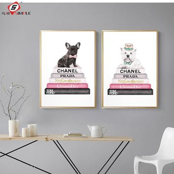 Simple Modern Fashion Dog Canvas Painting Vogue Posters Prints Nordic Wall Art Pictures for Living Room Home Decor No Framed