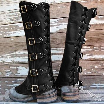 Retro Medieval Armor Cosplay Shoes Cover Buckle PU Leather Water Proof Black Brown Soldier Knights Long Boots-cover adjustable