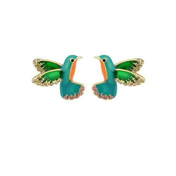 Enamel With Rhinestone Bird Stud Cute Earring