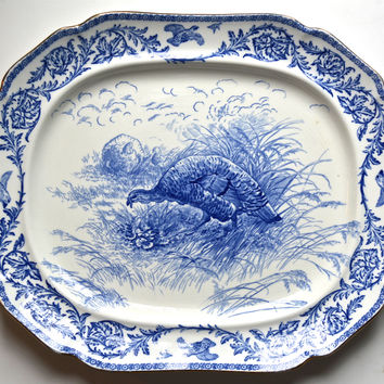 Antique Blue Transferware Staffordshire Thanksgiving Turkey Platter Royal Cauldon