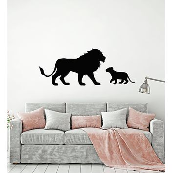Vinyl Wall Decal Lion King African Animals Lion Cub Kids Room Stickers Mural (g1373)