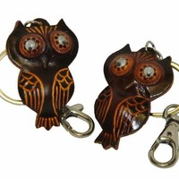 Genuine Leather Bag-charm/key-chain,a Pair of Lovely Owl Pattern,more Color.