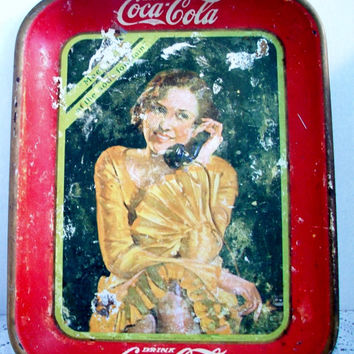 Vintage Red Drink Coca Cola Tin Tray 1930 Girl Talking On Phone American Art Works Inc