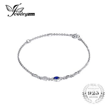 JewelryPalace Exquisite Marquise Created Blue Spinel Bracelet 100% 925 Sterling Silver Charms Women Trendy Fine Jewelry