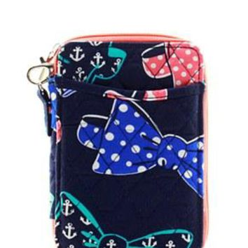 Quilted Wristlet Wallet Bow Tie Print