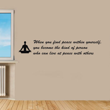 Yoga Wall Decal Vinyl Sticker Decals Art Home Decor Design Murals Boddha Quote Decal  Bedroom Yoga Studio OP2