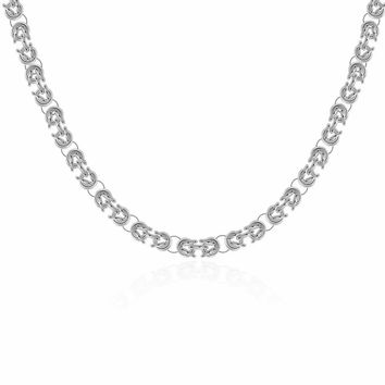 Knotted Links Silver Toggle Necklace For Woman