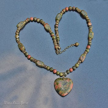 Unakite Heart Necklace, Pink and Olive Green Necklace, Unakite Gemstone Jewelry, Mother's Day Necklace, Mother's Day Gift