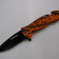 762 Silver Rescue Orange Camo Handle Folding Pocket Knife