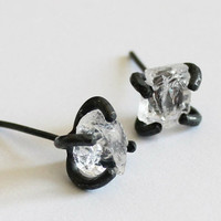 Handmade White Crystal Earring, 925 Silver Crystal Rock Ear Studs, Unique Gift