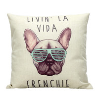 RUBI frenchie linen cotton cushion wihtout inner french bulldog animal pillow pattern design decorative throw pillows sofa cojin
