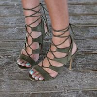 Restless Heat Olive Lace Up Heels
