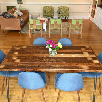 "Reclaimed Wood Dining Table with Steel Hairpin Legs- 33"" x 66"""