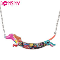 Bonsny Statement Metal Alloy Enamel Animal Pets Dachshund Dog Choker Necklace Chain Collar Pendant Fashion New Jewelry For Women