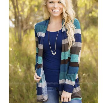 Womens Striped Cardigan Coat Top +Gift Necklace
