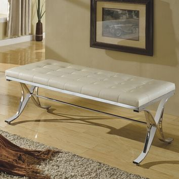 Royce collection beige faux leather tufted and upholstered bedroom bench with chrome metal frame