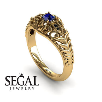Unique Engagement Ring 14K Yellow Gold Vintage Victorian Ring Edwardian Ring Filigree Ring Sapphire With Black Diamond - Cadence