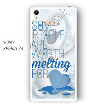 Some People Are Worth Melting For Olaf Funny Quote for Sony Xperia Z1/Z2/Z3 phone case