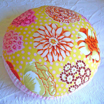 Shabby Chic Pillow - Cottage Chic Pillow - Floral Pillow - Pillow - Round Pillow - Nursery Pillow - Kaffe Fassett Fabric