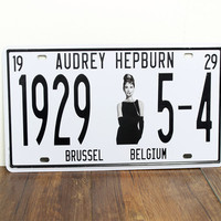 NEW 1929 5-4 audrey hepburn metal tin signs Vintage License Plate wall art decoration Plaque 15x30cm