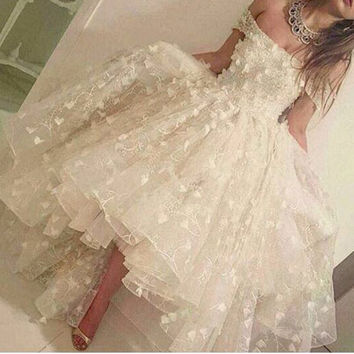 Real White Hi Lo Robe de soiree Organza Evening Dresses Sexy Off The Shoulder 3D Appliques Arabic Formal Gown Dress Abendkleid