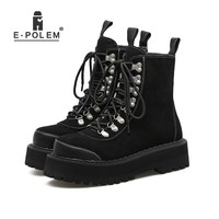 Suede Punk Boots Women Mid-Calf Motorcycle Platform Plat Thick Sole Ankle Boots Female Rivets Martin Booties Girls Rock Shoes