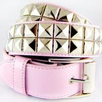 ROCKWORLDEAST - Studded Belts, 2 Row Silver Studded Belt, Pink Leather