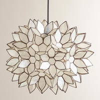 Large Capiz Lotus Hanging Pendant Lantern - World Market
