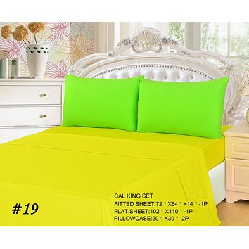 Tache 3 to 4 PC Cotton Solid Lemon Lime Yellow Green Bed Sheet Set (BS4PC-YG-C)