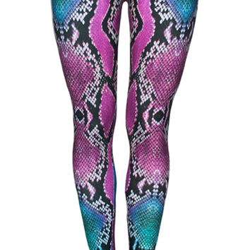 Blue and Purple Snake Skin Leggings Design 580