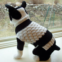 Dog Sweater Hand Knit Tuxedo 13 inches Long
