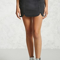 Scalloped Denim Mini Skirt