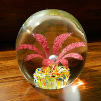 Vintage Art Glass Red Floral Paperweight - Yellow Multicolored Base - Controlled Bubble - 1960's or earlier - Possibly Murano