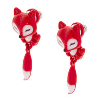 Small Red Fox Front and Back Earrings