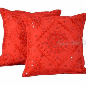 "Indian Red 16"" Set of 2 PC Pillow Cushion Cover Embroidered Cotton Decor Art"