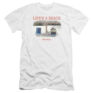 Office Space - Lifes A Beach Premium Canvas Adult Slim Fit 30/1 Shirt Officially Licensed T-Shirt
