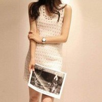 Romantic White Hollowed Peacock Pattern Sleeveless One Piece Dress