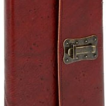 Wood Texture Brown Italian Leather Journal with Lock (6