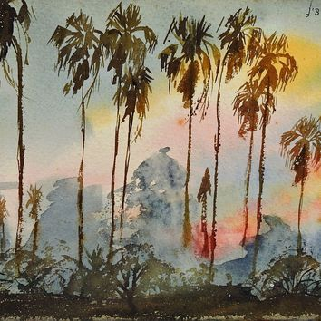 Palm Trees at Sunset Painting